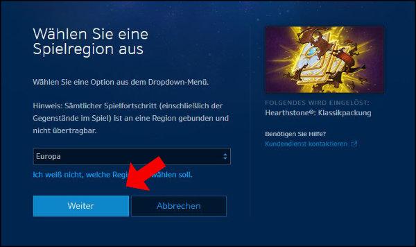 Blizzard Battle net Spielregion Hearthstone auswählen Europa