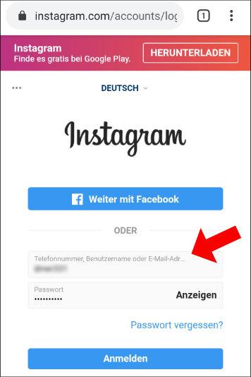 Instagram: Loggt euch auf der mobilen Website von Instagram ganz normal ein.