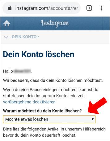 Instagram: Hier müsst ihr den Grund auswählen, weshalb ihr euer Konto löschen wollt.