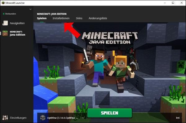 """Minecraft Launcher: Klickt hier auf den Punkt """"Installationen"""""""