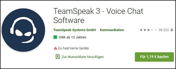 TeamSpeak App Android iOS kostenpflichtig