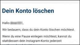 Instagram Konto Account Profil löschen deaktvieren