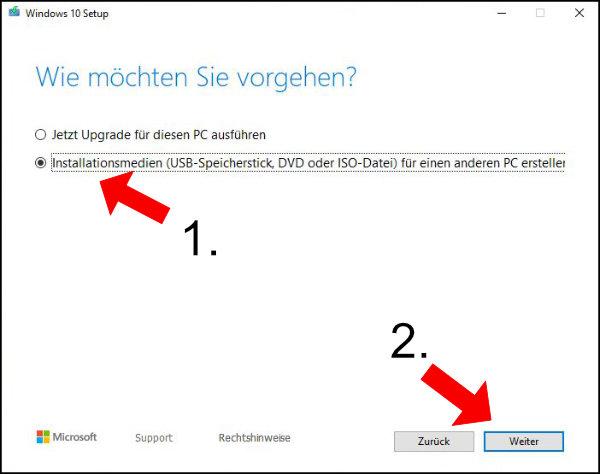 Windows 10: Wählt hier den Punkt Installationsmedien um die ISO auf euren USB-Stick herunterzuladen