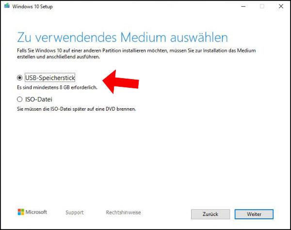 Windows 10: Wählt hier den Punkt USB-Speicherstick aus, um die ISO auf euren USB-Stick herunterzuladen.