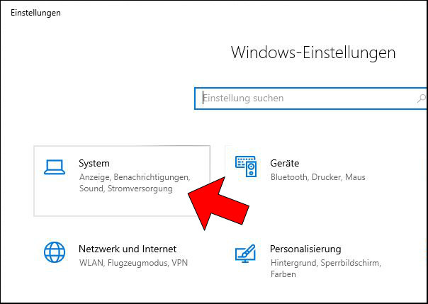 Windows 10 System Einstellungen Settings öffnen