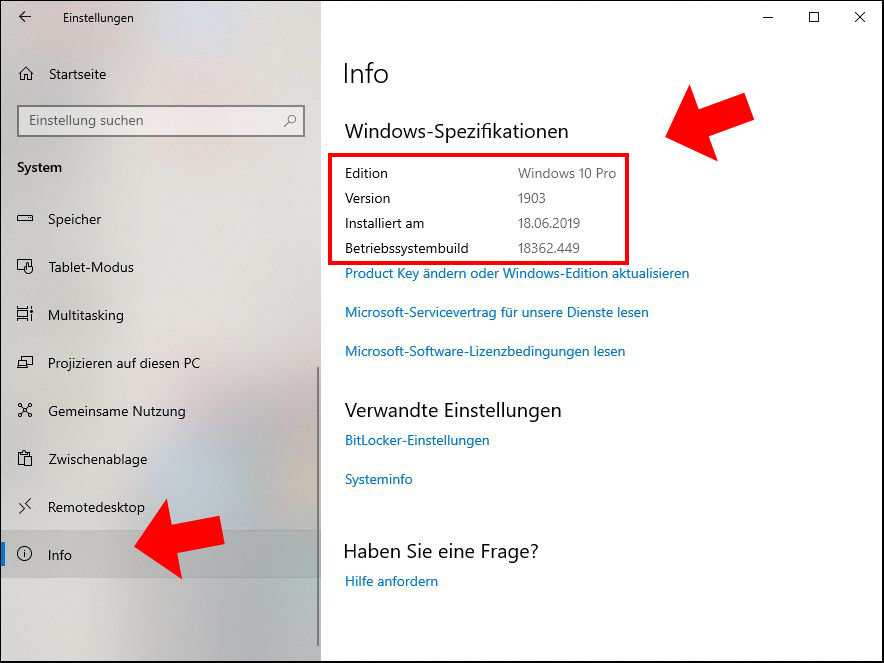 Windows 10 Info Spezifikationen Build Nummer Installationsdatum Version 1903