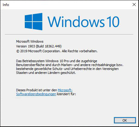 Windows 10 Microsoft Build Nummer 1903 1803 System Info Betriebssystem