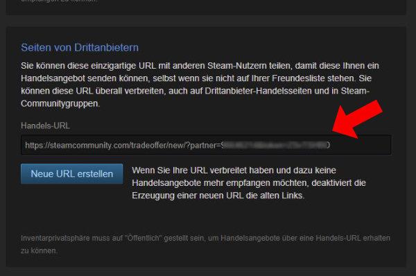 Steam Trade Handels URL Link ändern abrufen kopieren