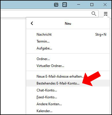 Mozilla Thunderbird bestehendes Email E-Mail Konto hinzufügen einrichten