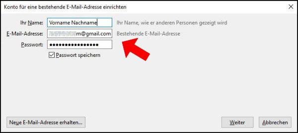 Mozilla Thunderbird Informationen E-Mail-Adresse Passwort Name eingeben - Konto hinzufügen