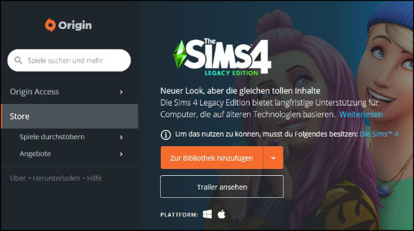 EA Origin Sims 4 Legacy Edition Store