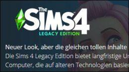 EA Origin Sims 4 Legacy Edition Unterschiede Version Windows Mac 32 bit
