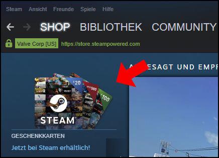 Valve Steam Guthaben Geschenkkarten Guthabenkarten kaufen direkt
