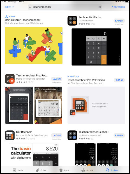 App Store Apple Taschenrechener App Rechner-App