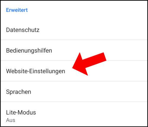 Website-Einstellungen Chrome Android Benachrichtungen