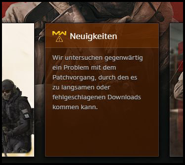 Battle.net Call of Duty Modern Warfare Download langsam kb bytes