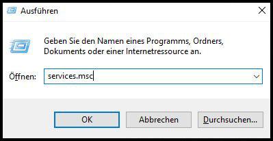Ausführen Windows services.msc Dialog Update Fehler