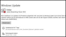 Windows 10 Update Fehler 0x80070422