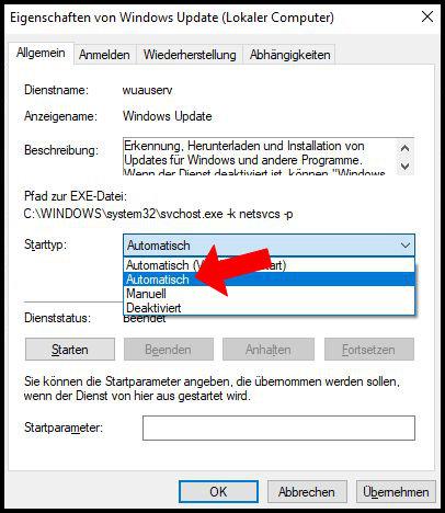 Windows Update Fehler Starttyp Automatisch
