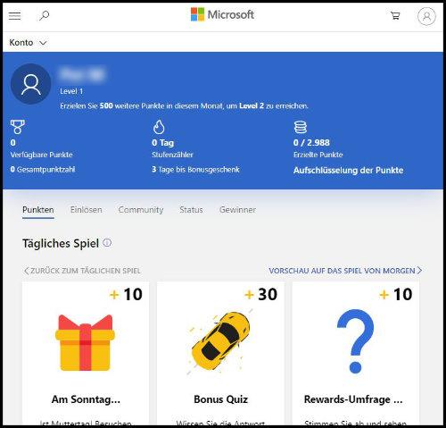 Microsoft Rewards Tägliche Spiele Punkte sammeln Einlösen