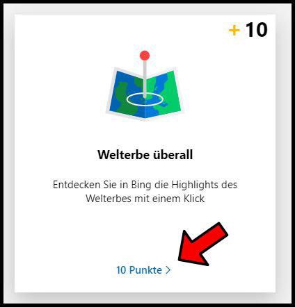 Bing Rewards 10 Punkte sammeln