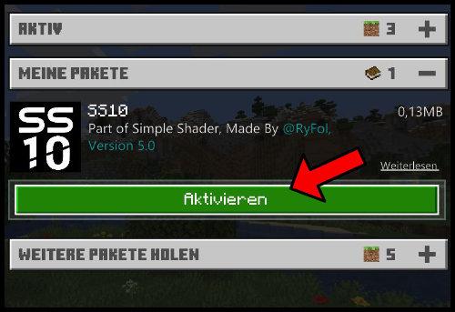 Minecraft Windows 10 Shader Shaderpack aktivieren .mcpack