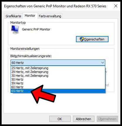 Windows Bildschirmaktualisierungsrate Hertz Monitor übertakten overclocken Hz ändern
