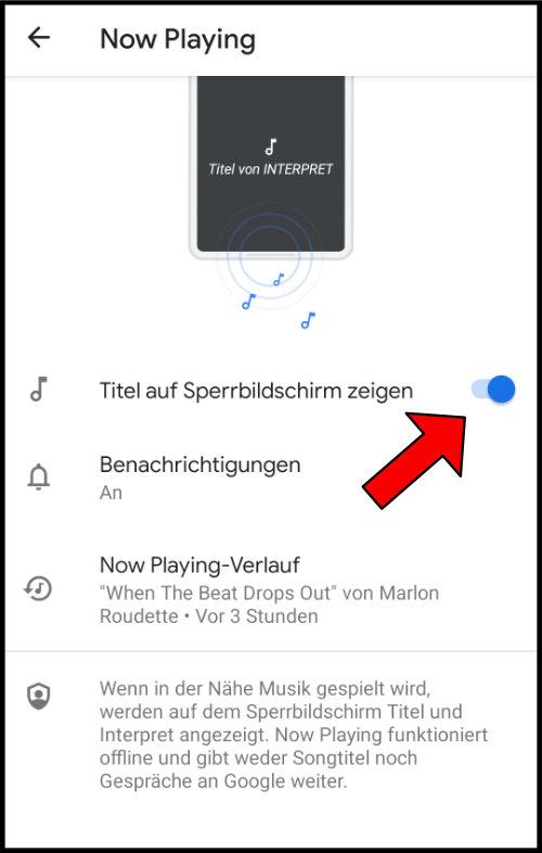 Google Now Playing Titel auf dem Sperbildschirm Zeigen Liedtitel Musikname Songname anzeigen