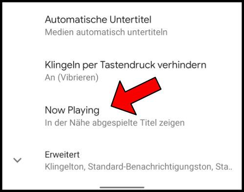 Google Pixel Now Playing Einstellungen In der Nähe abgespielte Titel zeigen