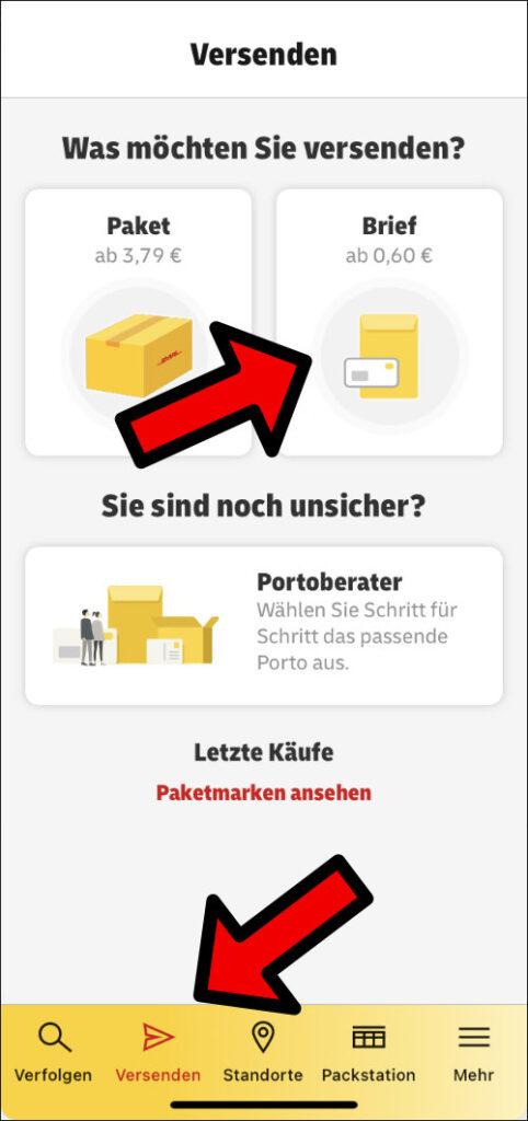 Brief Briefmarke online kaufen App DHL Post