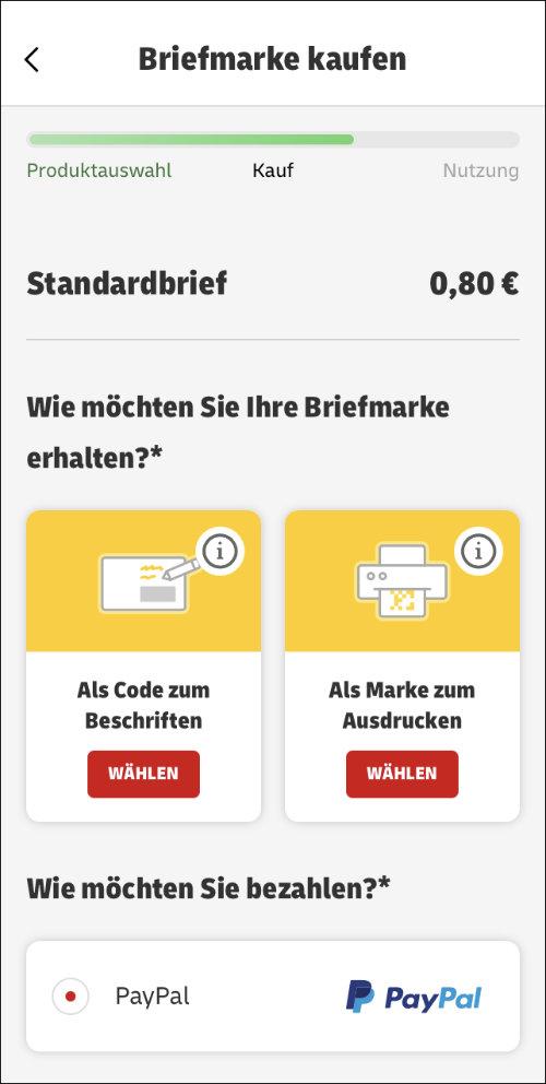 Brief frankieren Briefmarke PayPal kaufen Code
