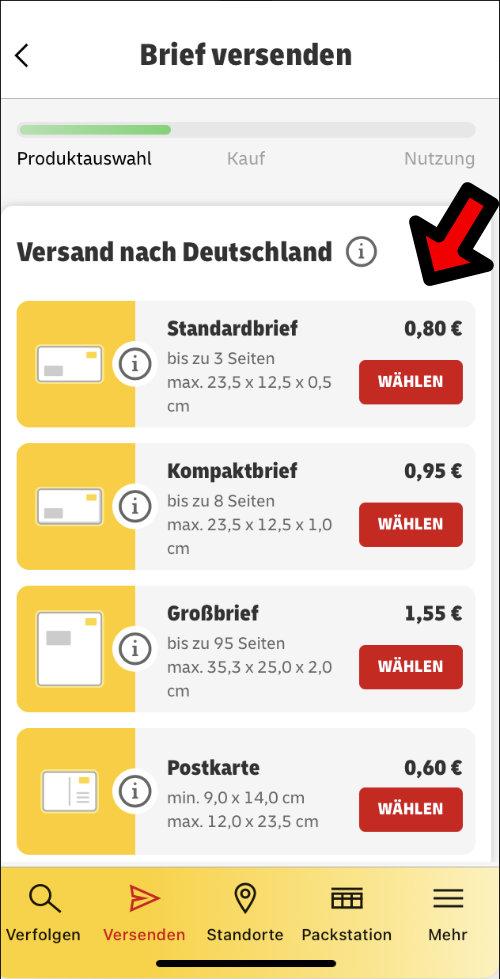 Brief online frankieren ohne Drucker DHL Briefmarke Post