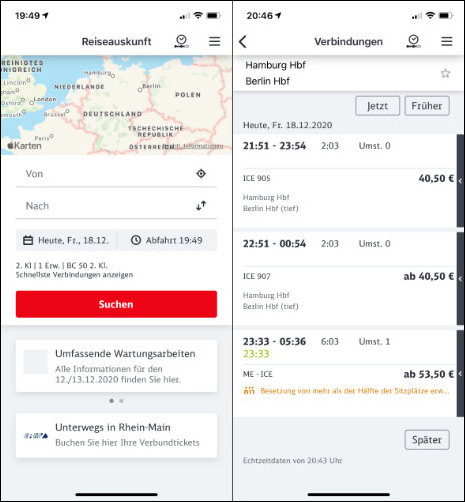 Öffi App Alternative iPhone DB Navigator