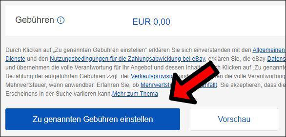 eBay Angebot Artikel Einstellen Gebühren zu genannten Gebühren einstellen