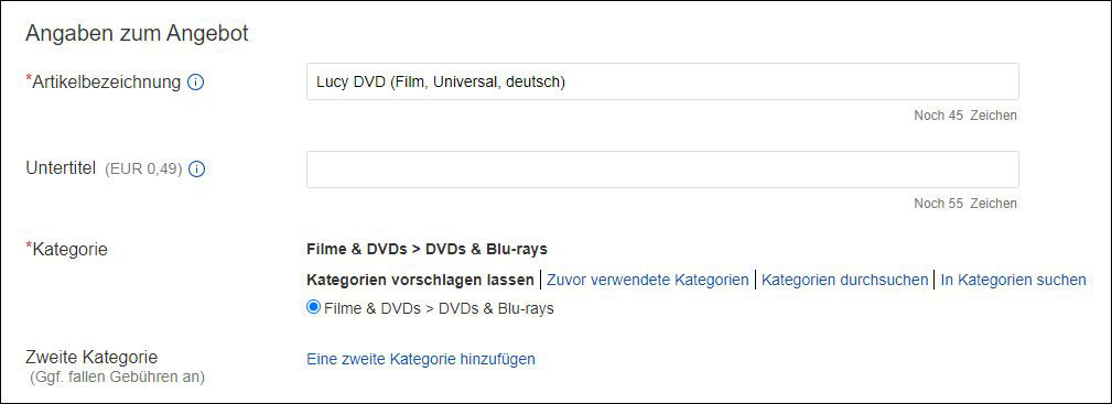 eBay Angaben Angebot Titel Beschreibung Kategorie Anleitung