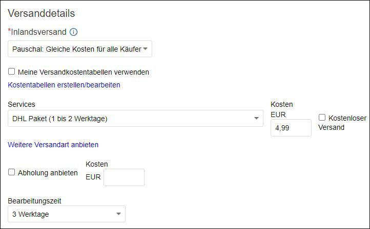 eBay Versand Anleitung kostenloser Versand Bearbeitungszeit Bedeutung