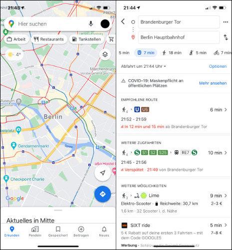 Öffi Fahrplanauskunft App Alternative iOS iPhone Google Maps