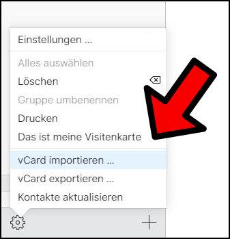 iCloud Kontakte importieren vCard iPhone