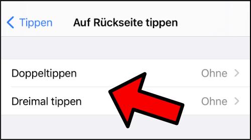iPhone Doppeltippen Hinten Screenshot