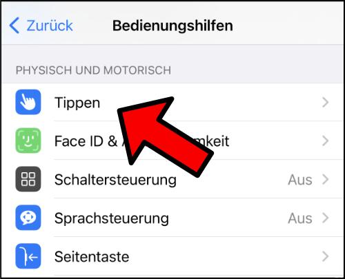 iPhone Tippen Bedienungshilfen