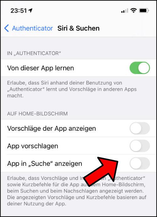 iOS iPhone App nicht mehr vorschlagen