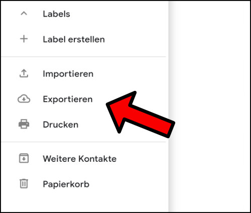 Google Kontakte exportieren vCard