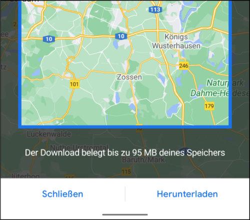 Google Maps Datenverbrauch sparen Offline Karten