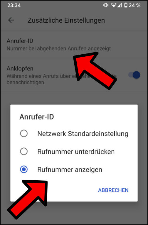 Google Pixel Rufnummer unterdrücken Anrufer-ID