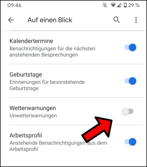 Google Pixel Glättewarnung Always On Display Wetterwarnungen Unwetterwarnungen deaktivieren
