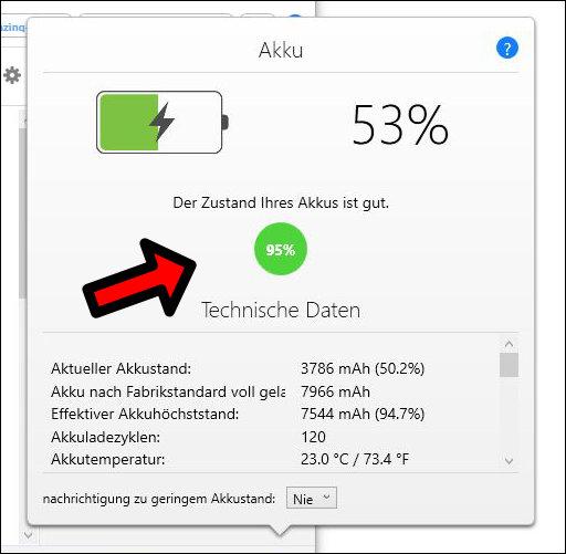 Batteriegesundheit iPad anzeigen Prozent