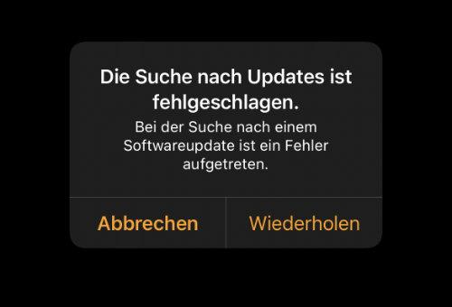 Apple Watch Update Fehlermeldung