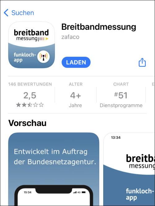 Breitbandmessung App Store