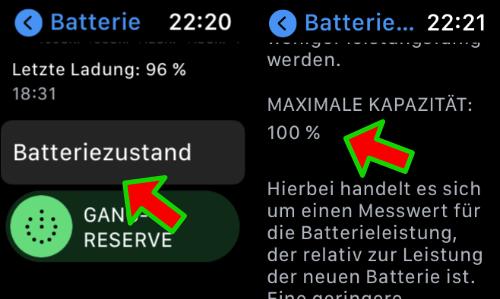 Apple Watch Akku Kapazität anzeigen Anleitung