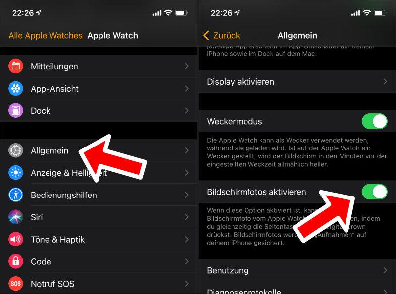 Apple Watch Screenshots aktivieren Anleitung